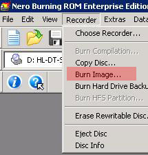 Using Nero to burn .iso image