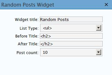 Random Posts Widget configuration