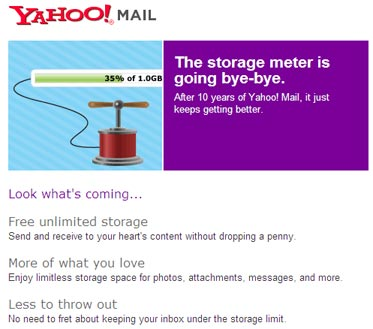 Yahoo! Mail with unlimited storage