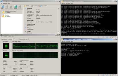 VirtualBox running Debian and CentOS