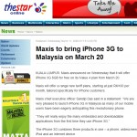Maxis to bring iPhone 3G to Malaysia on March 20